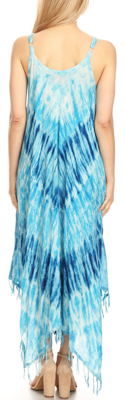 group-19277-Turquoise (Sakkas Jass Women's Spaghetti Strap Casual Summer Sleeveless Tie-dye Dress  )