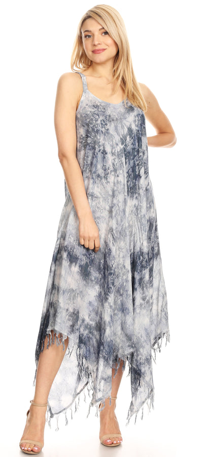 group-19278-Black (Sakkas Jass Women's Spaghetti Strap Casual Summer Sleeveless Tie-dye Dress  )