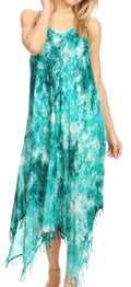 Sakkas Jass Women's Spaghetti Strap Casual Summer Sleeveless Tie-dye Dress  #color_19278-EmeraldGreen