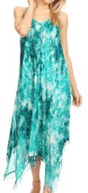 group-19278-EmeraldGreen (Sakkas Jass Women's Spaghetti Strap Casual Summer Sleeveless Tie-dye Dress  )