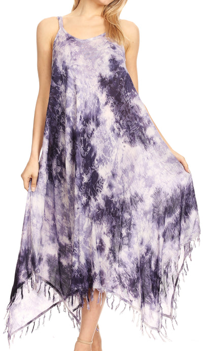 group-19278-Lavender (Sakkas Jass Women's Spaghetti Strap Casual Summer Sleeveless Tie-dye Dress  )