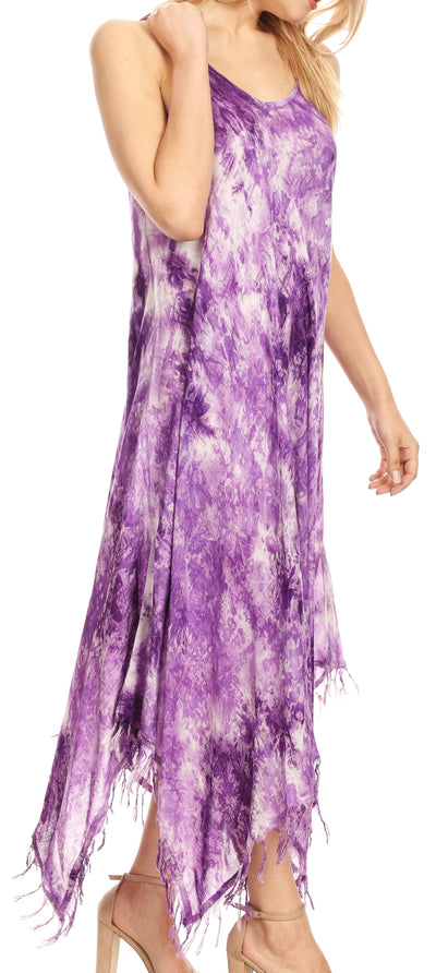 group-19278-Purple (Sakkas Jass Women's Spaghetti Strap Casual Summer Sleeveless Tie-dye Dress  )