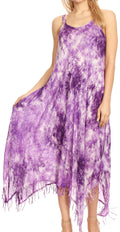 Sakkas Jass Women's Spaghetti Strap Casual Summer Sleeveless Tie-dye Dress  #color_19278-Purple