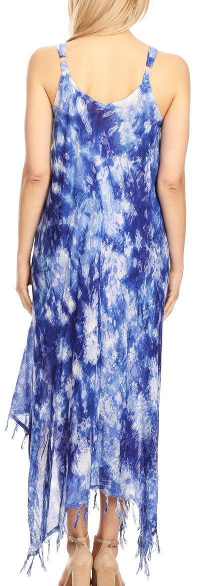 group-19278-RoyalBlue (Sakkas Jass Women's Spaghetti Strap Casual Summer Sleeveless Tie-dye Dress  )