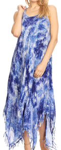 Sakkas Jass Women's Spaghetti Strap Casual Summer Sleeveless Tie-dye Dress  #color_19278-RoyalBlue
