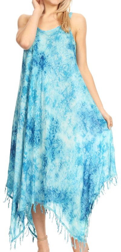 group-19278-Turquoise (Sakkas Jass Women's Spaghetti Strap Casual Summer Sleeveless Tie-dye Dress  )