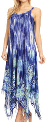 group-Royalblue (Sakkas Jass Women's Spaghetti Strap Casual Summer Sleeveless Tie-dye Dress  )