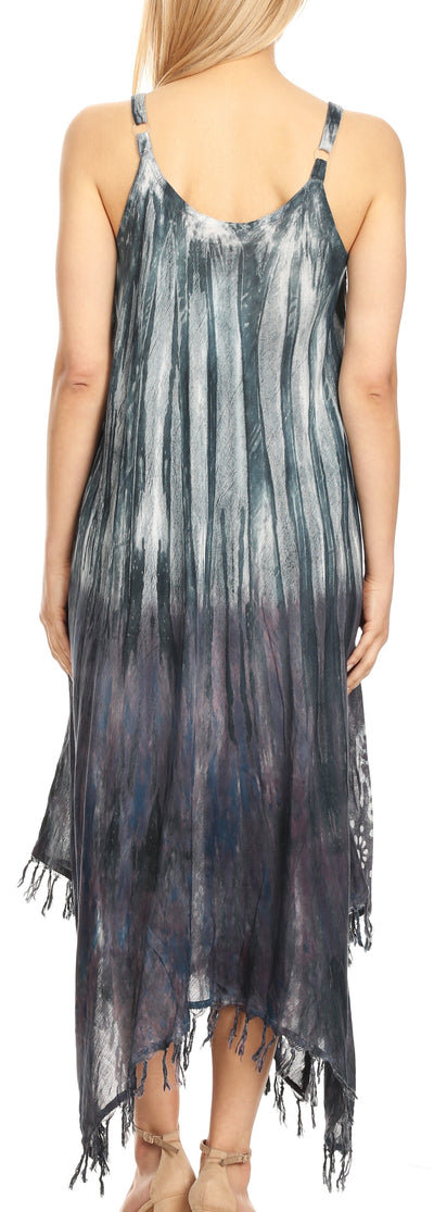 group-Blue (Sakkas Jass Women's Spaghetti Strap Casual Summer Sleeveless Tie-dye Dress  )