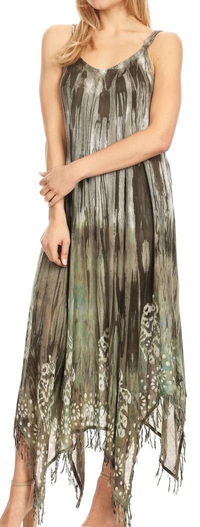 group-Olive (Sakkas Jass Women's Spaghetti Strap Casual Summer Sleeveless Tie-dye Dress  )
