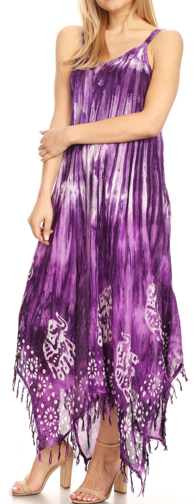 group-Purple (Sakkas Jass Women's Spaghetti Strap Casual Summer Sleeveless Tie-dye Dress  )
