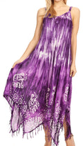 Sakkas Jass Women's Spaghetti Strap Casual Summer Sleeveless Tie-dye Dress  #color_Purple