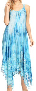 Sakkas Jass Women's Spaghetti Strap Casual Summer Sleeveless Tie-dye Dress  #color_Turquoise