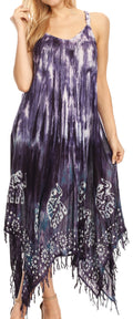 Sakkas Jass Women's Spaghetti Strap Casual Summer Sleeveless Tie-dye Dress  #color_Violet