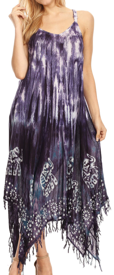 group-Violet (Sakkas Jass Women's Spaghetti Strap Casual Summer Sleeveless Tie-dye Dress  )