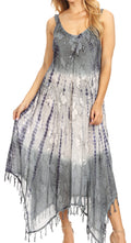 Sakkas Lupe Women's Casual Summer Fringe Maxi Loose V-neck High-low Dress Cover-up#color_19282-Gray