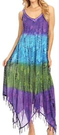 Sakkas Lupe Women's Casual Summer Fringe Maxi Loose V-neck High-low Dress Cover-up#color_19282-Purple