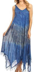 Sakkas Lupe Women's Casual Summer Fringe Maxi Loose V-neck High-low Dress Cover-up#color_19282-RoyalBlue
