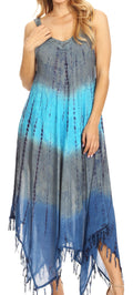 Sakkas Lupe Women's Casual Summer Fringe Maxi Loose V-neck High-low Dress Cover-up#color_19282-SteelBlue