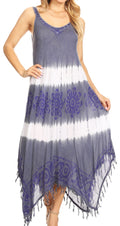 Sakkas Lupe Women's Casual Summer Fringe Maxi Loose V-neck High-low Dress Cover-up#color_Royalblue