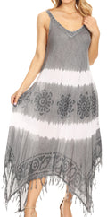Sakkas Lupe Women's Casual Summer Fringe Maxi Loose V-neck High-low Dress Cover-up#color_Gray