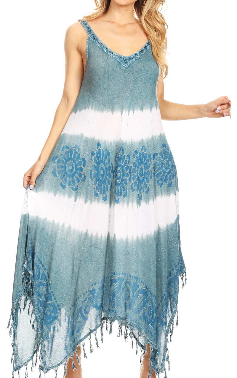 Sakkas Lupe Women's Casual Summer Fringe Maxi Loose V-neck High-low Dress Cover-up