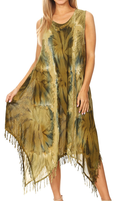 group-19284-Olive (Sakkas Lara Women's Casual Fringe Loose Maxi Sleeveless Dress Caftan Cover-up)