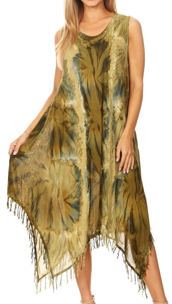Sakkas Lara Women's Casual Fringe Loose Maxi Sleeveless Dress Caftan Cover-up#color_19284-Olive