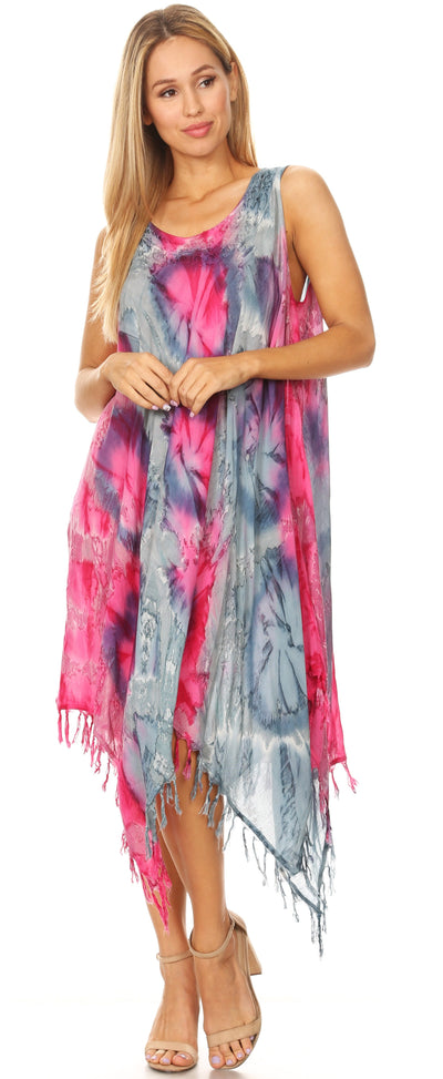 group-19284-PinkGray (Sakkas Lara Women's Casual Fringe Loose Maxi Sleeveless Dress Caftan Cover-up)