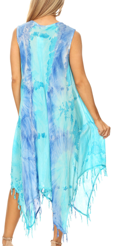 group-19284-RoyalBlueTurq (Sakkas Lara Women's Casual Fringe Loose Maxi Sleeveless Dress Caftan Cover-up)