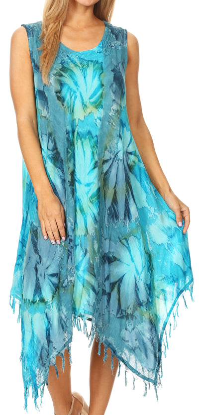 group-19284-TurqBlue (Sakkas Lara Women's Casual Fringe Loose Maxi Sleeveless Dress Caftan Cover-up)