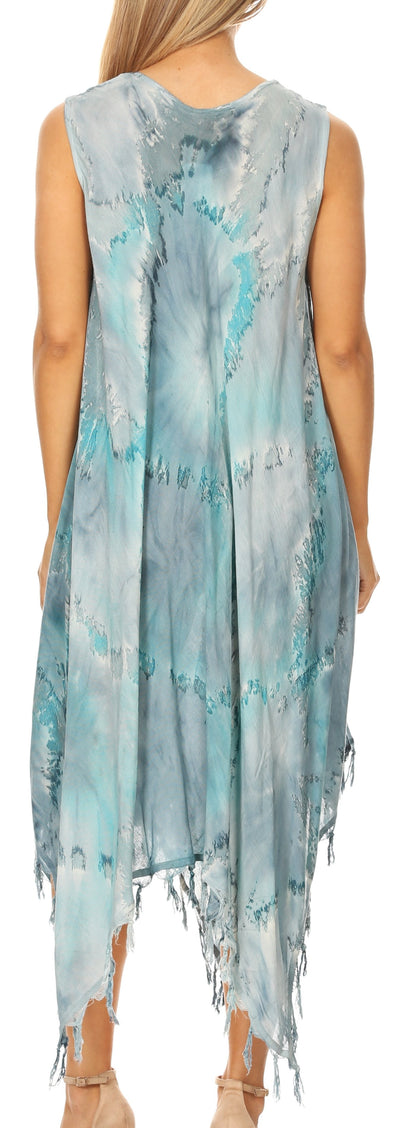 group-19284-TurqGray (Sakkas Lara Women's Casual Fringe Loose Maxi Sleeveless Dress Caftan Cover-up)