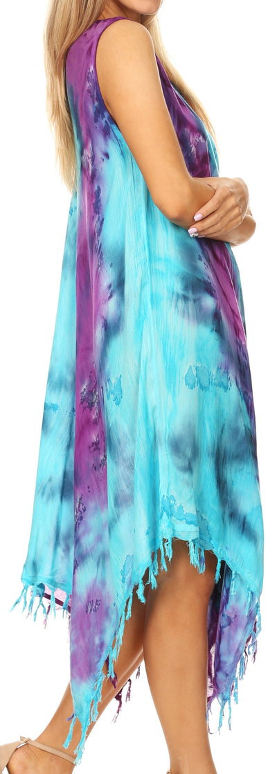 group-19284-TurqPurple (Sakkas Lara Women's Casual Fringe Loose Maxi Sleeveless Dress Caftan Cover-up)
