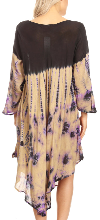 group-Black / Beige (Sakkas Lara Women's Casual Fringe Loose Maxi Sleeveless Dress Caftan Cover-up)