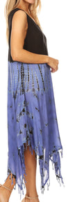 group-BlackPeriwinkle (Sakkas Lara Women's Casual Fringe Loose Maxi Sleeveless Dress Caftan Cover-up)