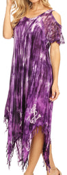 group-19287-Purple (Sakkas Flo Women's Cold Shoulder Loose Fit Midi Casual Summer Dress Cover-up)