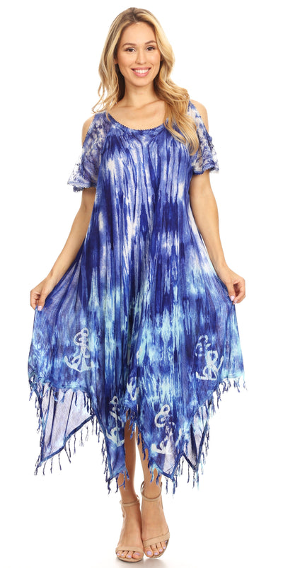 group-19287-RoyalBlue (Sakkas Flo Women's Cold Shoulder Loose Fit Midi Casual Summer Dress Cover-up)