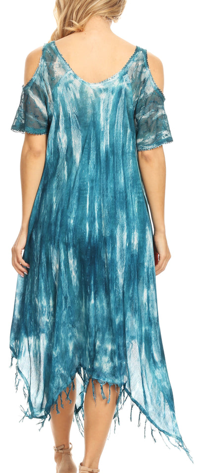 group-19287-Teal (Sakkas Flo Women's Cold Shoulder Loose Fit Midi Casual Summer Dress Cover-up)