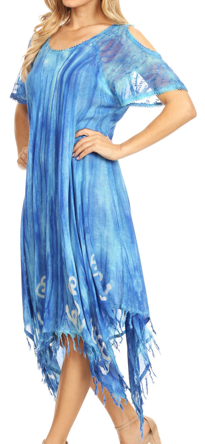 group-19287-Turquoise (Sakkas Flo Women's Cold Shoulder Loose Fit Midi Casual Summer Dress Cover-up)