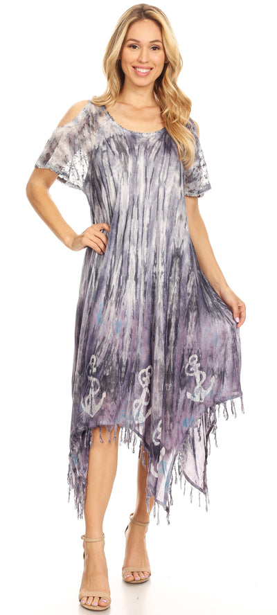 group-19287-Violet (Sakkas Flo Women's Cold Shoulder Loose Fit Midi Casual Summer Dress Cover-up)