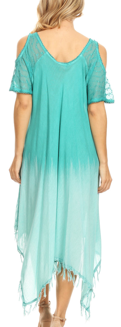 group-SeaGreen (Sakkas Flo Women's Cold Shoulder Loose Fit Midi Casual Summer Dress Cover-up)