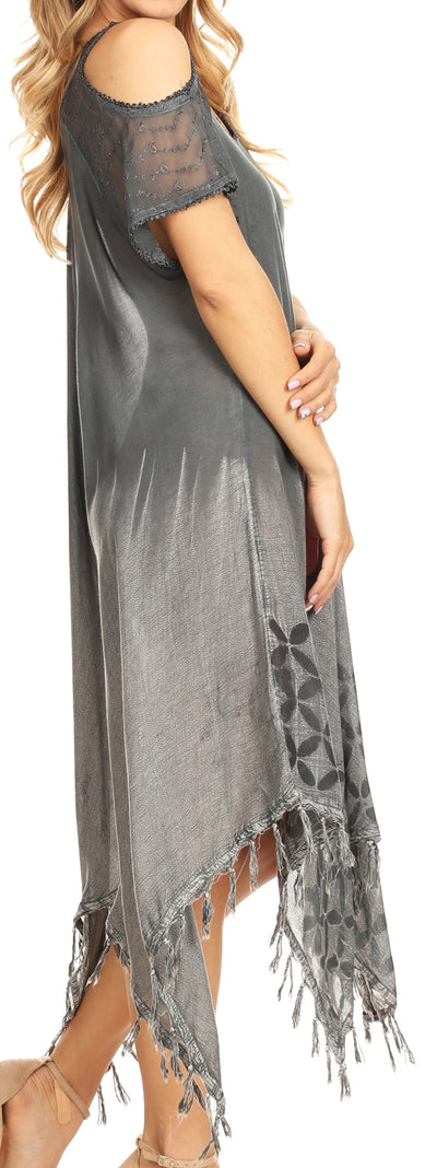 group-Gray (Sakkas Flo Women's Cold Shoulder Loose Fit Midi Casual Summer Dress Cover-up)