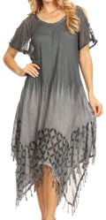 Sakkas Flo Women's Cold Shoulder Loose Fit Midi Casual Summer Dress Cover-up#color_Gray