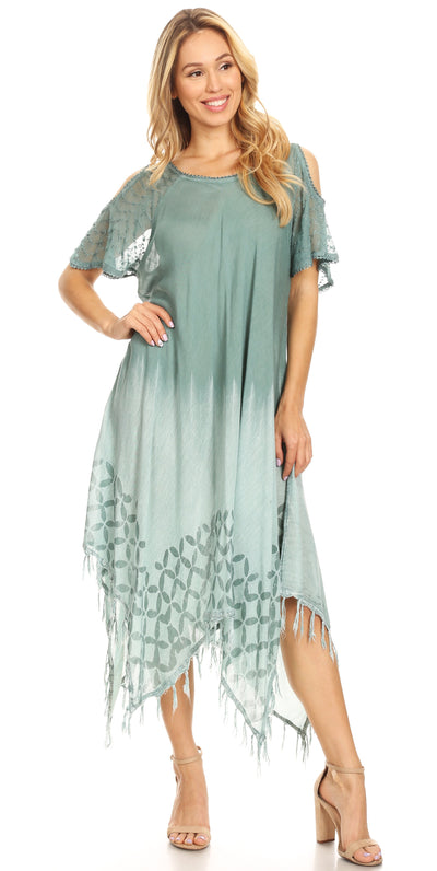 group-Moss (Sakkas Flo Women's Cold Shoulder Loose Fit Midi Casual Summer Dress Cover-up)