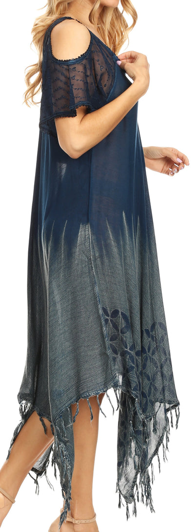 group-Navy (Sakkas Flo Women's Cold Shoulder Loose Fit Midi Casual Summer Dress Cover-up)