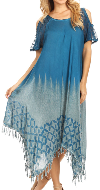 group-Teal (Sakkas Flo Women's Cold Shoulder Loose Fit Midi Casual Summer Dress Cover-up)