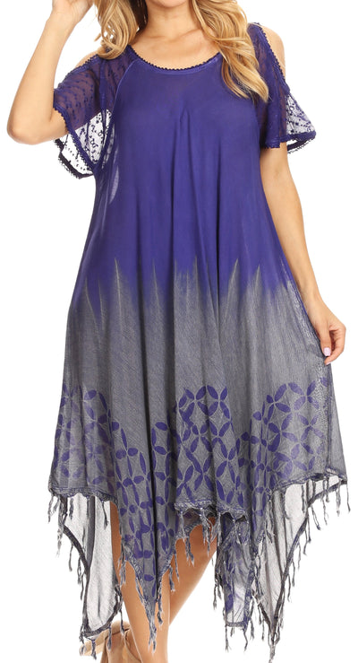 group-Violet (Sakkas Flo Women's Cold Shoulder Loose Fit Midi Casual Summer Dress Cover-up)