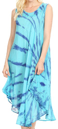 Sakkas Tia Women's Casual Summer Maxi Loose Fit Sleeveless Tank Dress Cover-up#color_Turquoise