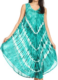Sakkas Ambra Women's Casual Maxi Tie Dye Sleeveless Loose Tank Cover-up Dress#color_19300-EmeraldGreen