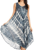 Sakkas Ambra Women's Casual Maxi Tie Dye Sleeveless Loose Tank Cover-up Dress#color_19300-Navy