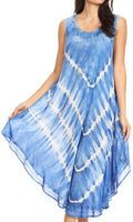 Sakkas Ambra Women's Casual Maxi Tie Dye Sleeveless Loose Tank Cover-up Dress#color_19300-RoyalBlue